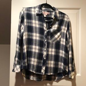 blue, green, and white flannel//never worn!